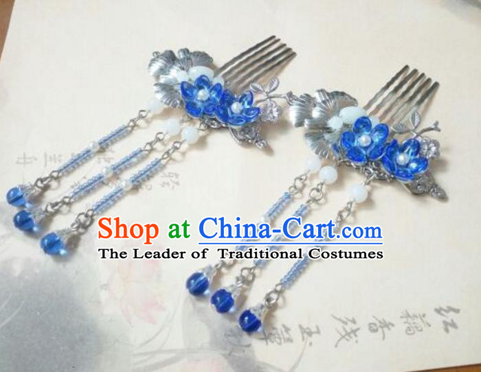 Traditional Handmade Chinese Ancient Classical Hanfu Hair Accessories Tassel Hairpins, Princess Palace Lady Blue Tassel Hair Comb for Women