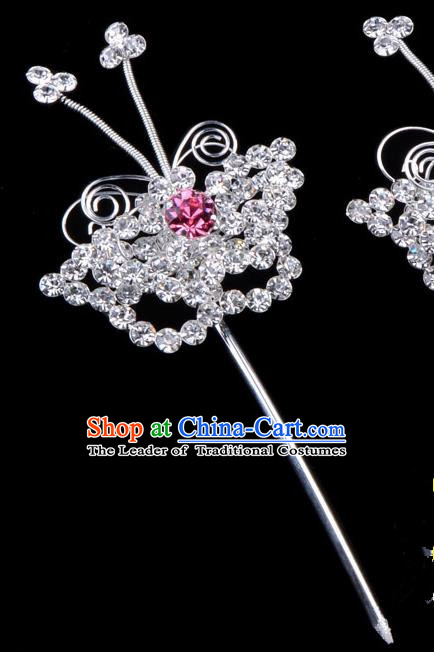 Traditional Beijing Opera Diva Hair Accessories Pink Crystal Butterfly Head Ornaments Hairpins, Ancient Chinese Peking Opera Hua Tan Hair Stick Headwear
