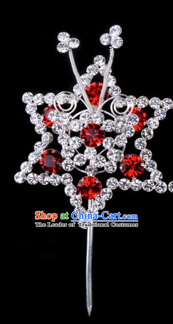 Traditional Beijing Opera Diva Hair Accessories Red Crystal Hexagon Head Ornaments Hairpins, Ancient Chinese Peking Opera Hua Tan Hair Stick Headwear
