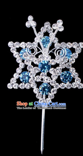 Traditional Beijing Opera Diva Hair Accessories Blue Crystal Hexagon Head Ornaments Hairpins, Ancient Chinese Peking Opera Hua Tan Hair Stick Headwear