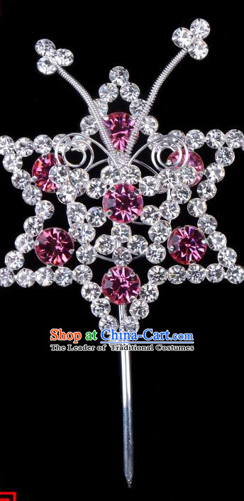 Traditional Beijing Opera Diva Hair Accessories Pink Crystal Hexagon Head Ornaments Hairpins, Ancient Chinese Peking Opera Hua Tan Hair Stick Headwear