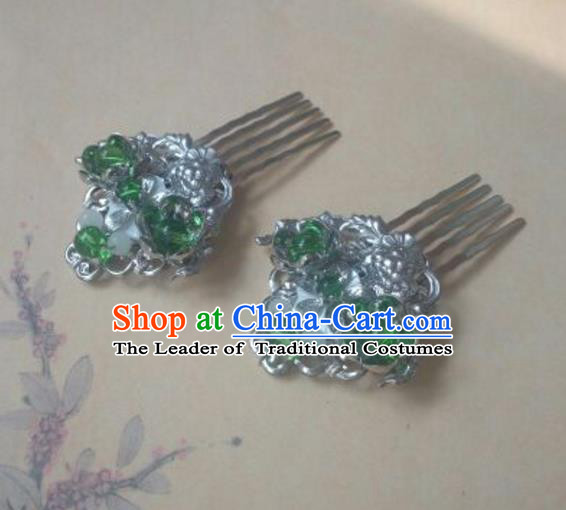 Traditional Handmade Chinese Ancient Classical Hanfu Hair Accessories Hairpins, Princess Palace Lady Green Hair Comb for Women