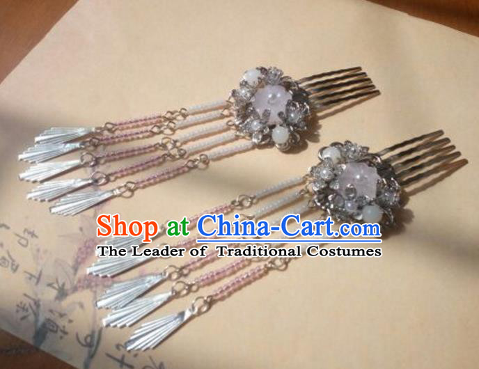 Traditional Handmade Chinese Ancient Classical Hanfu Hair Accessories Hairpins Pink Tassel Hair Comb, Princess Headpiece Palace Lady Step Shake Hair Stick for Women
