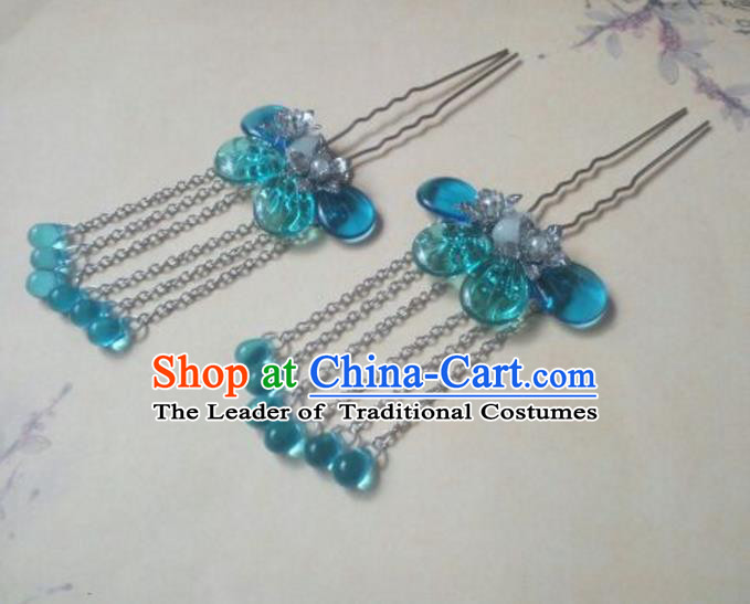 Traditional Handmade Chinese Ancient Classical Hanfu Hair Accessories Hairpins Blue Tassel Hair Comb, Princess Headpiece Palace Lady Hair Stick for Women