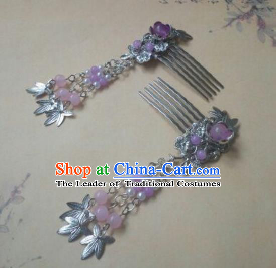 Traditional Handmade Chinese Ancient Classical Hanfu Hair Accessories Hairpins Purple Hair Comb, Princess Palace Lady Tassel Step Shake Hair Stick for Women