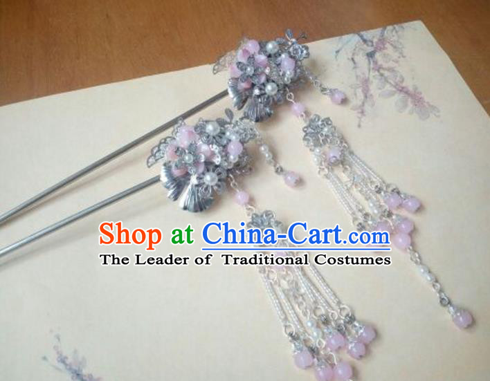 Traditional Handmade Chinese Ancient Classical Hanfu Hair Accessories Pink Beads Tassel Hairpins, Princess Headpiece Step Shake Hair Fascinators for Women