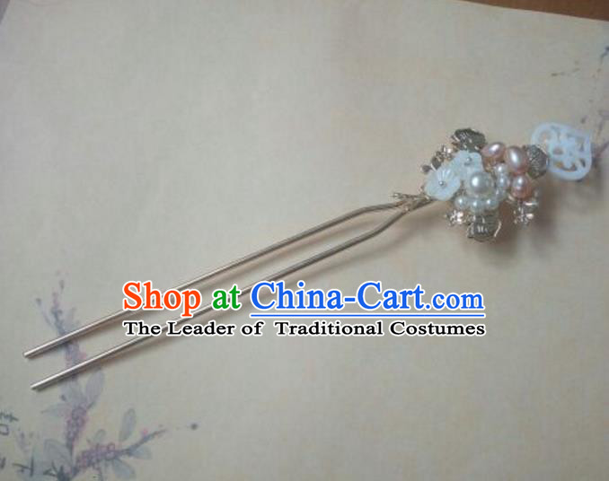 Traditional Handmade Chinese Ancient Classical Hanfu Hair Accessories Pink Pearl Hairpins, Princess Headpiece Step Shake Hair Fascinators for Women