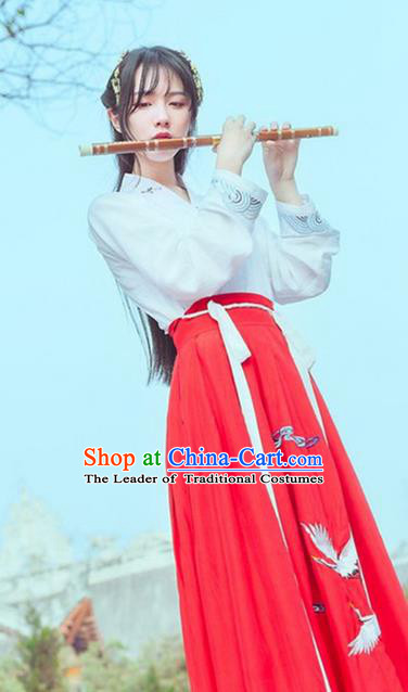 Traditional Ancient Chinese Song Dynasty Imperial Princess Fairy Costume, Elegant Hanfu Clothing Chinese Palace Lady Embroidered Crane Clothing for Women
