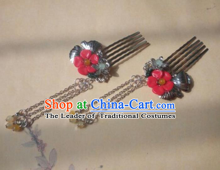 Traditional Handmade Chinese Ancient Classical Hanfu Hair Accessories Hairpins Red Hair Comb, Princess Palace Lady Step Shake Hair Stick for Women