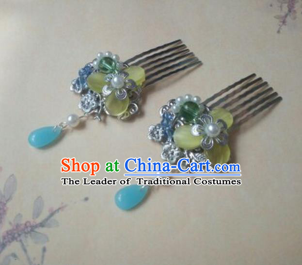 Traditional Handmade Chinese Ancient Classical Hanfu Hair Accessories Blue Hair Comb Hairpins, Princess Headpiece Step Shake Hair Fascinators for Women