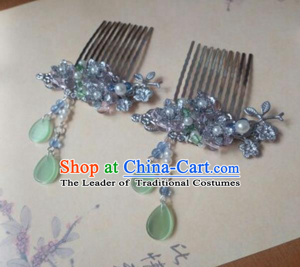Traditional Handmade Chinese Ancient Classical Hanfu Hair Accessories Green Hair Comb Hairpins, Princess Headpiece Step Shake Hair Fascinators for Women