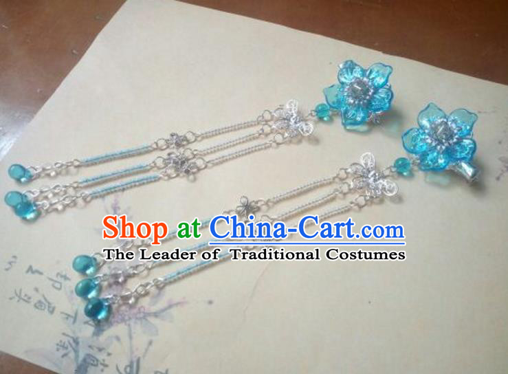 Traditional Handmade Chinese Ancient Classical Hanfu Hair Accessories Palace Lady Blue Flower Tassel Hair Claw, Princess Headpiece Hairpins Hair Fascinators for Women