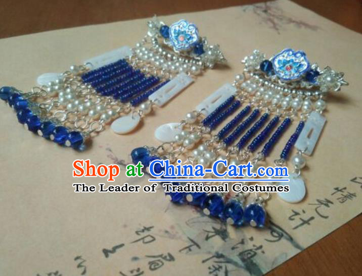 Traditional Handmade Chinese Ancient Classical Hanfu Accessories Palace Lady Blueing Hairpins Tassel Step Shake for Women