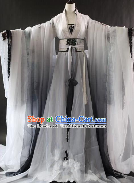 Traditional Ancient Chinese Swordswoman Costume, Elegant Hanfu Clothing Chinese Tang Dynasty Palace Lady Embroidered Clothing for Women