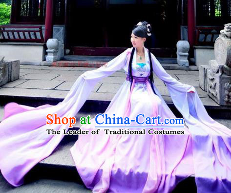 Traditional Ancient Chinese Tang Dynasty Senior Concubine Dance Costume, Elegant Hanfu Chinese Princess Water Sleeve Embroidered Dress Clothing for Women