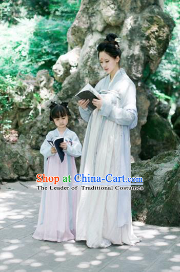 Traditional Ancient Chinese Princess Costume Blue Dress, Elegant Hanfu Clothing Chinese Han Dynasty Palace Lady Embroidered Clothing for Kids
