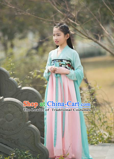 Traditional Ancient Chinese Princess Costume Palace Slip Dress, Elegant Hanfu Clothing Chinese Han Dynasty Embroidered Clothing for Kids