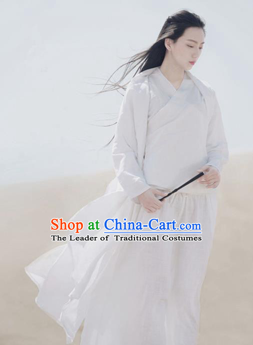 Traditional Ancient Chinese National Costume White Blouse and Pants, Elegant Hanfu Clothing Chinese Young Lady Clothing