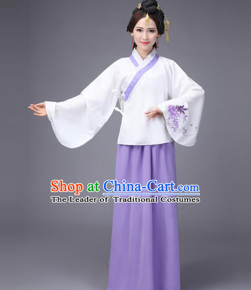Asian Fashion Oriental China Costume Blouse and Skirt Complete Set, Chinese Ming Dynasty Imperial Princess Embroidered Clothing for Women