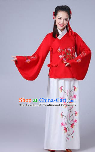 Traditional Asian Oriental China Costume Embroidery Wintersweet Red Blouse and Skirt Complete Set, Chinese Ming Dynasty Imperial Princess Embroidered Clothing for Women