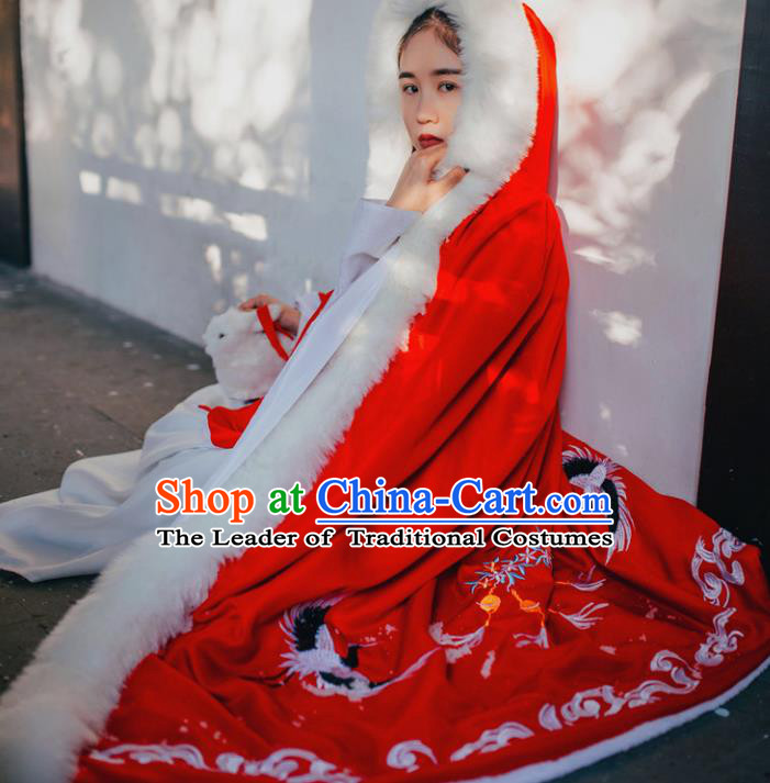 Traditional Ancient Chinese Costume Princess Red Cloak, Elegant Hanfu Clothing Chinese Tang Dynasty Palace Lady Embroidered Mantle Clothing for Women