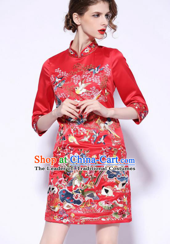 Traditional Top Grade Asian Chinese Costumes Classical Embroidery Cheongsam, China National Middle Sleeve Chirpaur Dress Red Qipao for Women