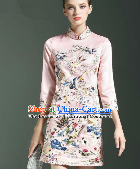 Traditional Top Grade Asian Chinese Costumes Classical Embroidery Cheongsam, China National Middle Sleeve Chirpaur Dress Pink Qipao for Women