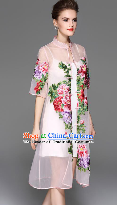 Traditional Top Grade Asian Chinese Costumes Classical Embroidery Peony Pink Coat, China National Plated Buttons Dust Coat for Women