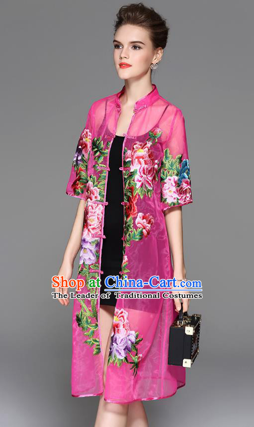 Traditional Top Grade Asian Chinese Costumes Classical Embroidery Peony Rosy Coat, China National Plated Buttons Dust Coat for Women