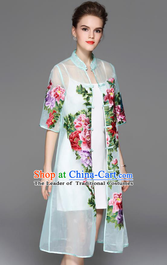 Traditional Top Grade Asian Chinese Costumes Classical Embroidery Peony Light Blue Coat, China National Plated Buttons Dust Coat for Women