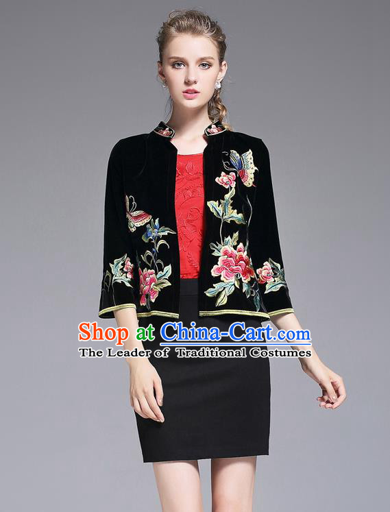 Traditional Top Grade Asian Chinese Costumes Classical Embroidery Peony Short Coat, China National Black Jacket for Women