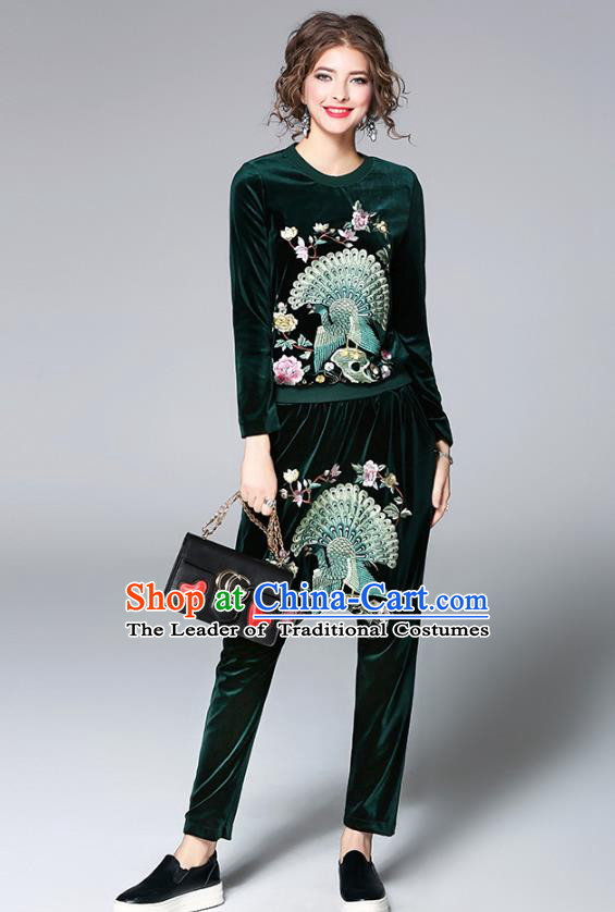 Traditional Top Grade Asian Chinese Costumes Classical Embroidery Shirt and Pants, China National Green Pleuche Suit for Women