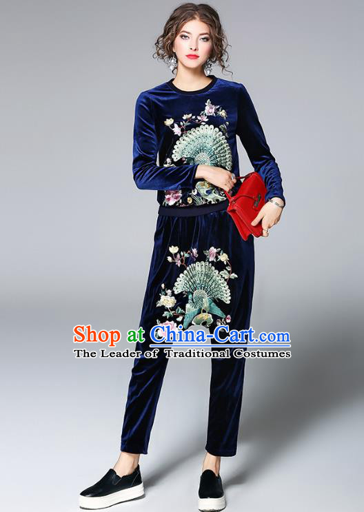 Traditional Top Grade Asian Chinese Costumes Classical Embroidery Shirt and Pants, China National Blue Pleuche Suit for Women