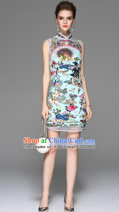 Traditional Top Grade Asian Chinese Costumes Classical Embroidery Cheongsam, China National Blue Chirpaur Dress Qipao for Women