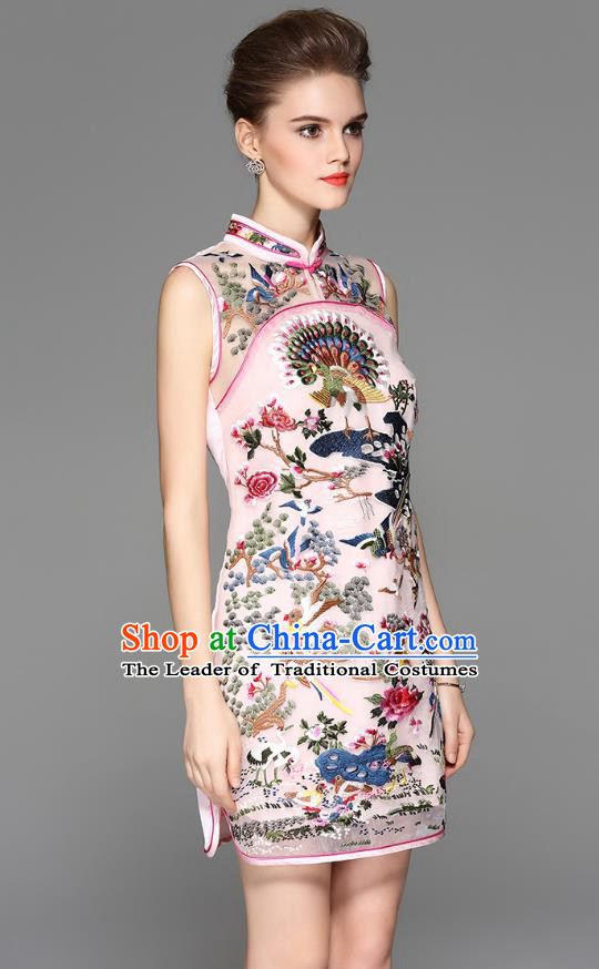 Traditional Top Grade Asian Chinese Costumes Classical Embroidery Cheongsam, China National Pink Chirpaur Dress Qipao for Women