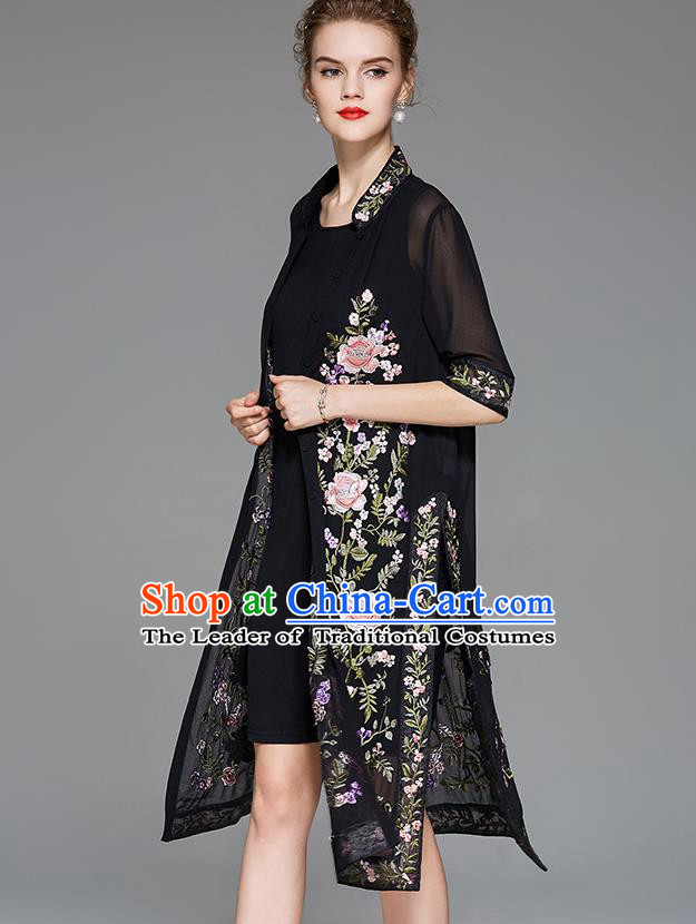 Traditional Top Grade Asian Chinese Costumes Classical Embroidery Peony Black Cardigan and Dress, China National Chirpaur Clothing Qipao for Women