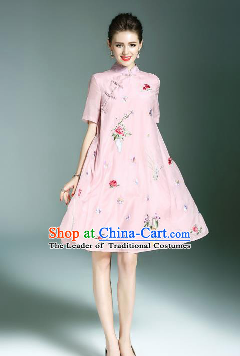 Top Grade Asian Chinese Costumes Classical Embroidery Butterfly Flowers Slant Opening Cheongsam, Traditional China National Pink Chirpaur Dress Plated Buttons Qipao for Women