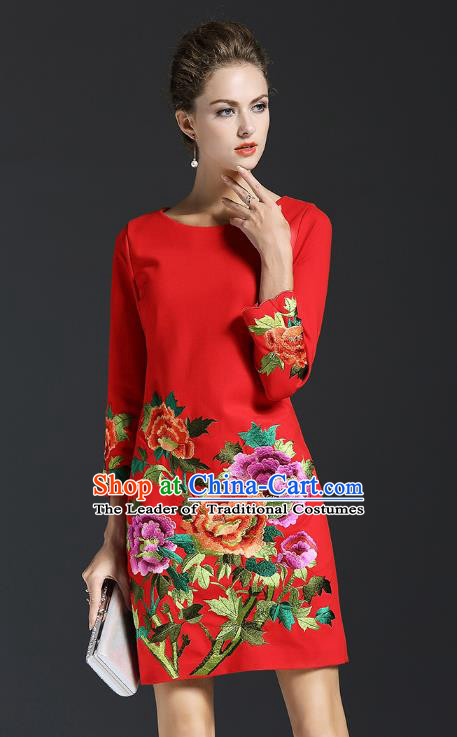 Top Grade Asian Chinese Costumes Classical Embroidery Peony Dress, Traditional China National Red Chirpaur Qipao for Women