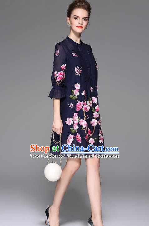 Top Grade Asian Chinese Costumes Classical Embroidery Two-piece Dress, Traditional China National Embroidered Mandarin Sleeve Navy Chirpaur Qipao for Women