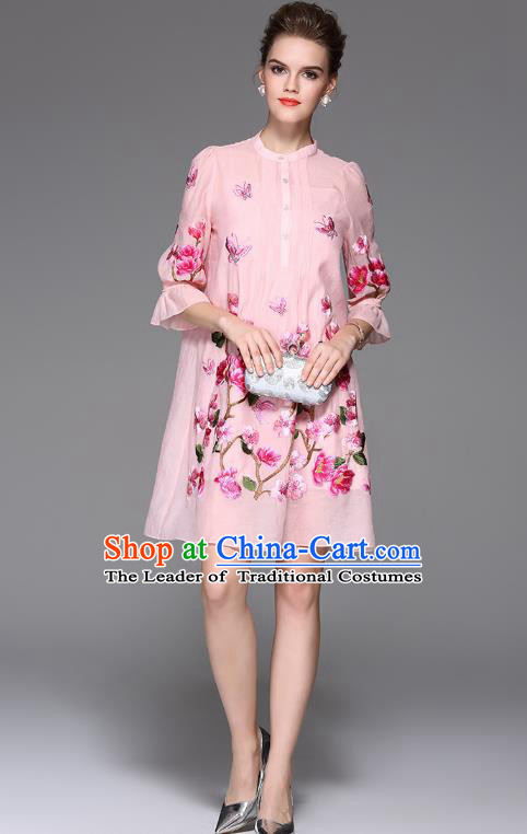Top Grade Asian Chinese Costumes Classical Embroidery Two-piece Dress, Traditional China National Embroidered Mandarin Sleeve Pink Chirpaur Qipao for Women