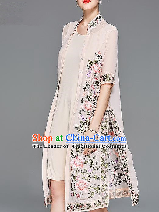 Traditional Top Grade Asian Chinese Costumes Classical Embroidery Peony Pink Cardigan and Dress, China National Chirpaur Clothing Qipao for Women