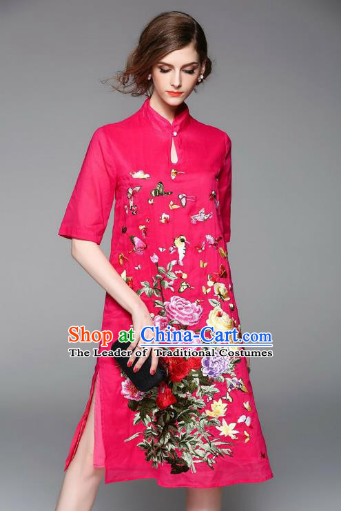 Top Grade Asian Chinese Costumes Classical Embroidery Rosy Dress, Traditional China National Embroidered Chirpaur Qipao for Women