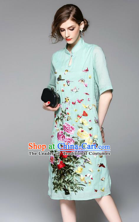 Top Grade Asian Chinese Costumes Classical Embroidery Green Dress, Traditional China National Embroidered Chirpaur Qipao for Women