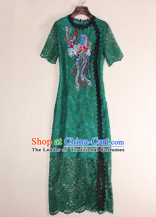 Top Grade Asian Chinese Costumes Classical Embroidery Phoenix Green Lace Dress, Traditional China National Embroidered Chirpaur Qipao for Women