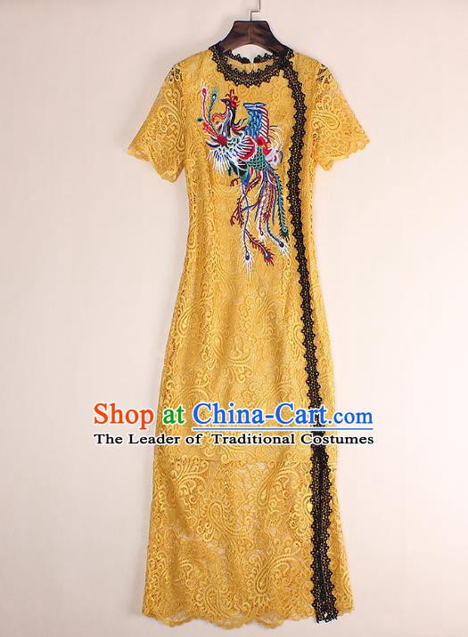 Top Grade Asian Chinese Costumes Classical Embroidery Phoenix Yellow Lace Dress, Traditional China National Embroidered Chirpaur Qipao for Women
