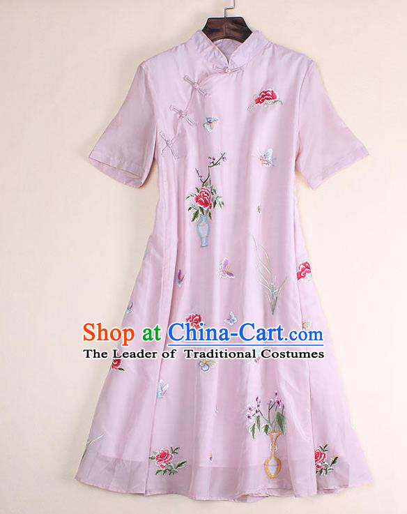 Top Grade Asian Chinese Costumes Classical Embroidery Pink Dress Silk Cheongsam, Traditional China National Embroidered Chirpaur Qipao for Women
