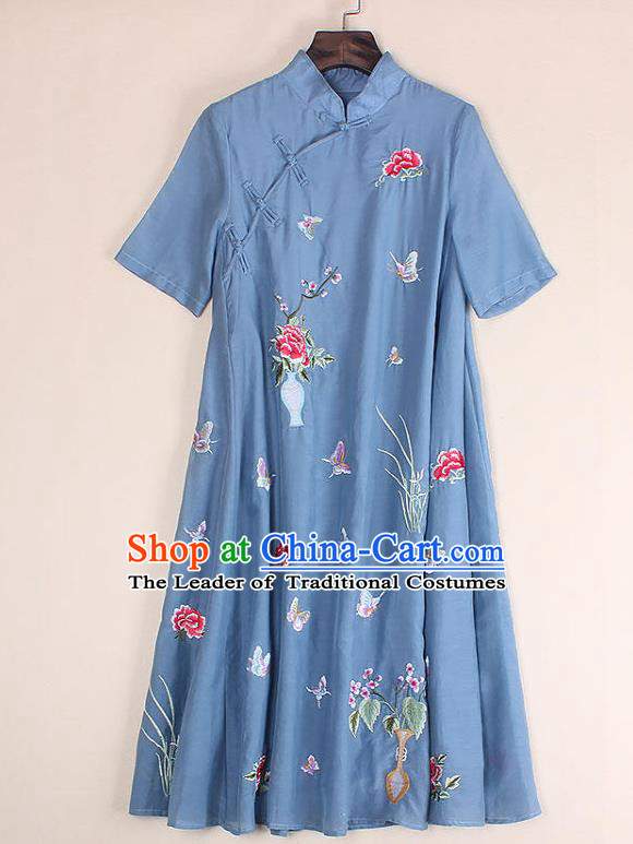Top Grade Asian Chinese Costumes Classical Embroidery Blue Dress Silk Cheongsam, Traditional China National Embroidered Chirpaur Qipao for Women