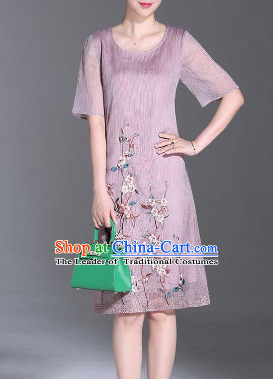 Top Grade Asian Chinese Costumes Classical Embroidery Purple Dress Cheongsam, Traditional China National Embroidered Chirpaur Qipao for Women