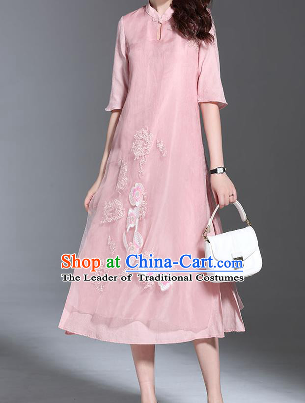 Top Grade Asian Chinese Costumes Classical Embroidery Pink Dress Stand Collar Cheongsam, Traditional China National Embroidered Chirpaur Qipao for Women