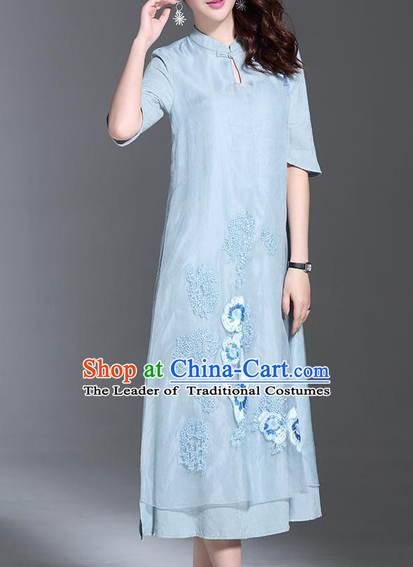 Top Grade Asian Chinese Costumes Classical Embroidery Blue Dress Stand Collar Cheongsam, Traditional China National Embroidered Chirpaur Qipao for Women
